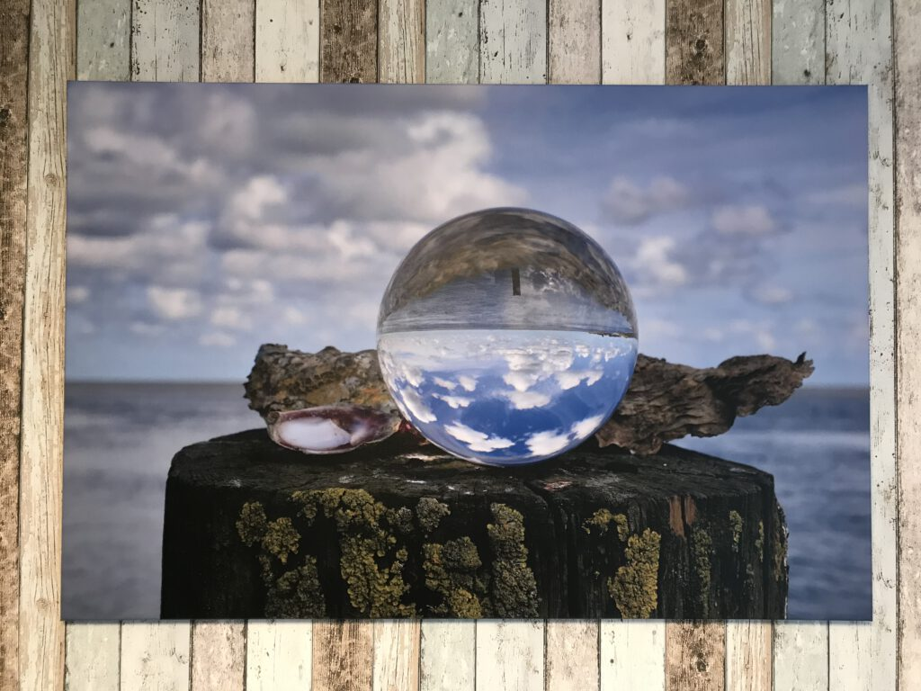 Canvas met Waddenzee in lensball