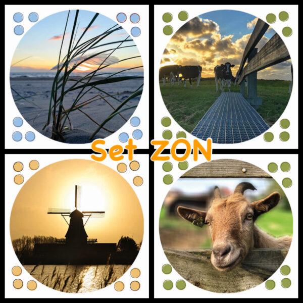 Set ZON met 4 ansichtkaarten